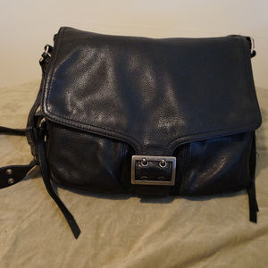 Banana Republic black leather messenger bag purse